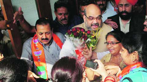 Amit Shah and Jitendra Singh in Jammu on Sunday. ( Source: PTI )