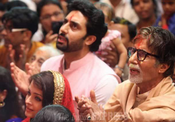 Aishwarya, Abhishek, Amitabh Bachchan pray at Lalbaugcha Raja