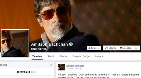 Megastar Amitabh Bachchan hit a new record today on his Facebook page by garnering over 15 million fan following.