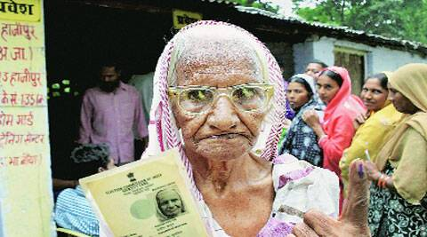 An old woman after casting vote in Hajipur, Bihar. ( Source: PTI )