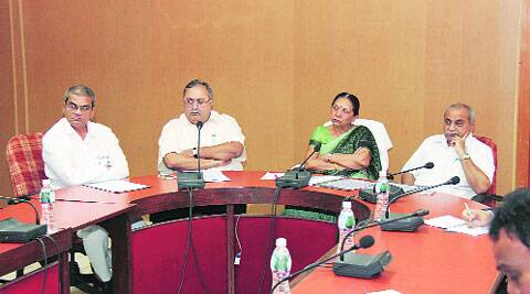 Anandi Patel with other ministers at a meeting in Gandhinagar  on Thursday. (Source: IE photo)