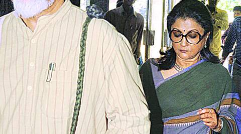 Aparna Sen with her husband Kalyan Roy at ED office.