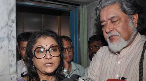 Actor Director Aparna Sen with her husband Kalyan Roy coming out from  ED  in connection with saradha Chit fund on Monday in Kolkata. (Source: Express Photo)