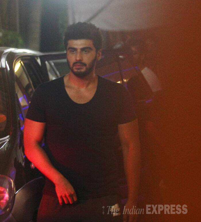 Arjun went casual in a black tee shirt and tracks. (Source: Varinder Chawla)