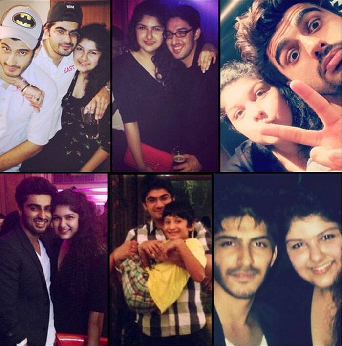 'Gunday' actor Arjun Kapoor's younger sister Anshula posted a collage of her brothers Arjun, Mohit Marwah and other cousins wishing them a very happy rakhi. (Source: Twitter)