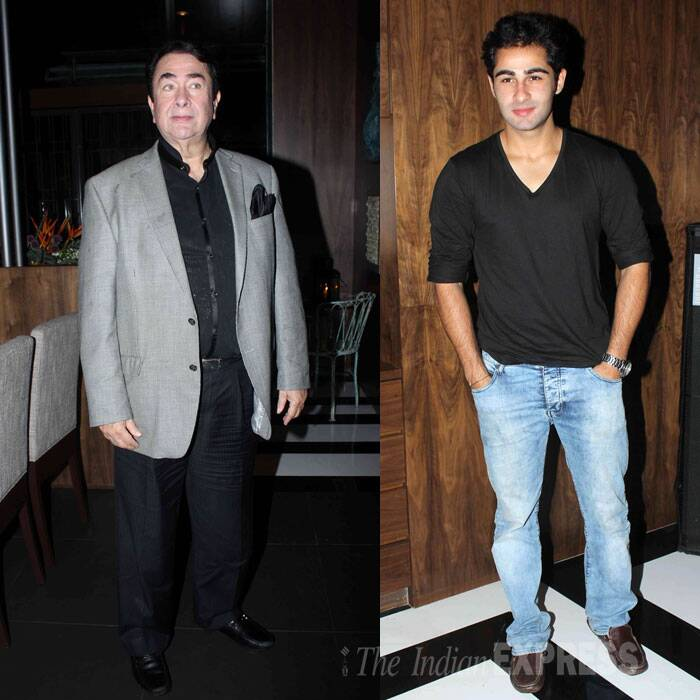 Kapoor men - newcomer Armaan Jain, his uncle Randhir Kapoor were seen spending an evening together over the weekend.  The two were attending the launch event of Joss. (Source: Varinder Chawla)