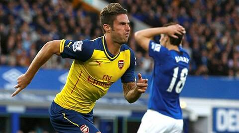 Arsenal's French striker Oliver Giroud celebrates a goal against Everton at the Goodison Park in Liverpool. (Source: Reuters)