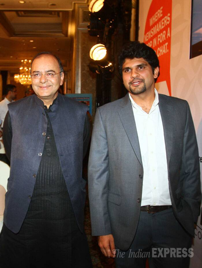 Union Minister of Finance and Defence Arun Jaitley interacting with Anant Goenka, Wholetime Director & Head - New Media, The Indian Express Group. (Source: Express photo by Amit Chakravarty)