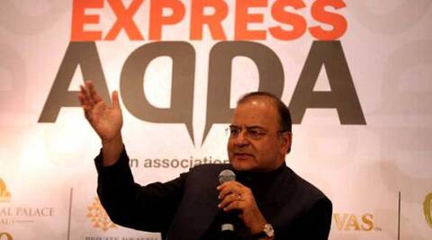 Finance Minister Arun Jaitley speaks during the Express AddA at the Taj Mahal hotel, Mumbai on Wednesday. (Express photo: Prashant Nadkar)