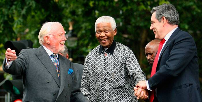 "In 1987 he produced """"Cry Freedom"", a film about Steve Biko, the South African black civil rights activist who died in police custody.<br /><br /> Britain's then Prime Minister Gordon Brown (R) and director Richard Attenborough assist South Africa's former President Nelson Mandela (C) to the podium, during the unveiling ceremony of a statue in Mandela's honour in London's Parliament Square, in this file picture taken August 29, 2007. (Source: Reuters)"
