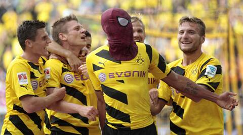 Aubameyang celebrated his goal by putting on a Spiderman mask he pulled out of his sock (Source: Reuters)