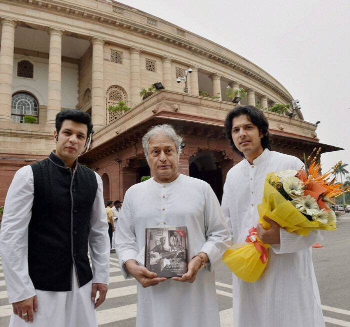 Sarod maestro Amjad Ali Khan and his sons Amaan and Ayaan at Parliament House in New Delhi on Tuesday. (Source: PTI)