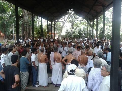 At the funeral of Yoga guru BKS Iyengar in Pune. He died today at the age of 96.