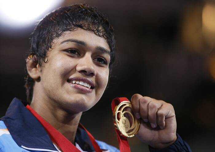 Babita Kumari clinched India's first gold of the day by winning the women's 55kg wrestling final. (Source: AP)