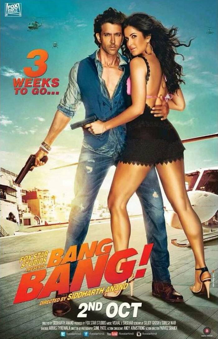 Bollywood's super hot onscreen couple Katrina Kaif and Hrithik Roshan look sizzling in the new poster of their much-talked about upcoming film 'Bang Bang'. <br /> The trailer of the film has already created abuzz ripples across the globe and the two lead Hrithik and Katrina are being admired all over.