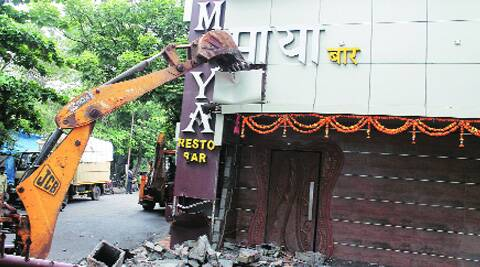 Thane civic body has also started razing illegal modifications in such bars.