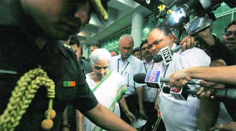 Beniwal at Kolkata airport, Friday. (Subham Dutta)