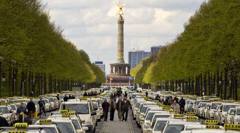 Berlin Taxi Drivers protested on the use of UBER app. (Source: AP)