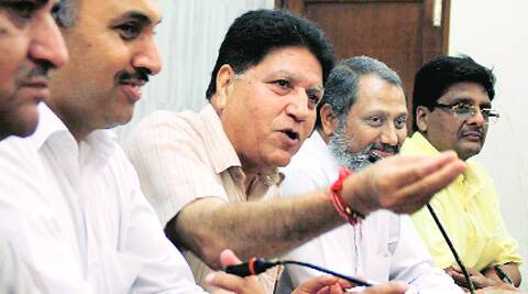 At the BJP press conference in Ludhiana on Thursday. (Source: Express photo by Gurmeet Singh)