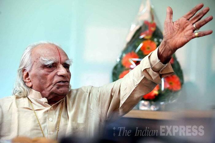 Iyengar, honoured with Padma Vibhushan, is survived by a son and daughter.  <br /><br /> In this file photo, Iyengar at Indian Express Idea Exchange. (Source: Express Archive)