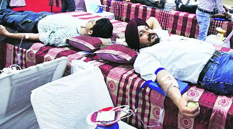 At a blood donation camp in Sector 37, Chandigarh, on Thursday.