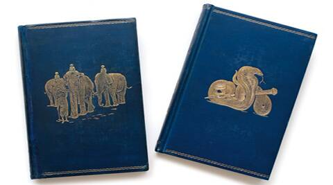 Leather-bound editions of The Jungle Book and The Second Jungle Book that will be auctioned.