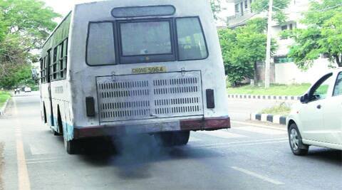 Black carbon emission by a CTU bus in Chandigarh. ( Source: Express photo by Jaipal Singh )