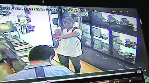 CCTV footage of the robber at the jewellery shop in Sector 22,