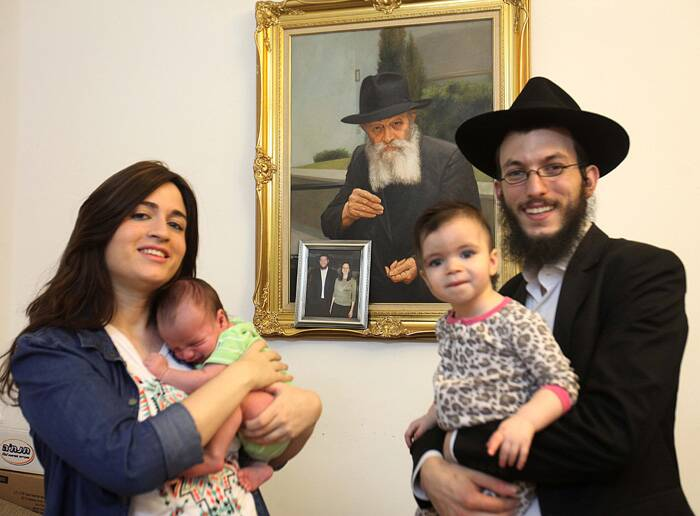 Rabbi Israel Kozlovsky with his wife Mrs Chaya, also seen in the picture are their children  Nhava and Menachem. (Express photo by Vasant Prabhu)