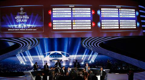 General view of the final draw for the UEFA Champions League group E, F, G, H, is seen on an electronic board after the draw, at the Grimaldi Forum, in Monaco (Source: AP)