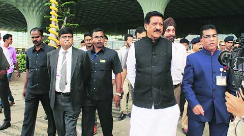 Prithviraj Chavan at T-2 terminal on Friday. (Source: Express photo)