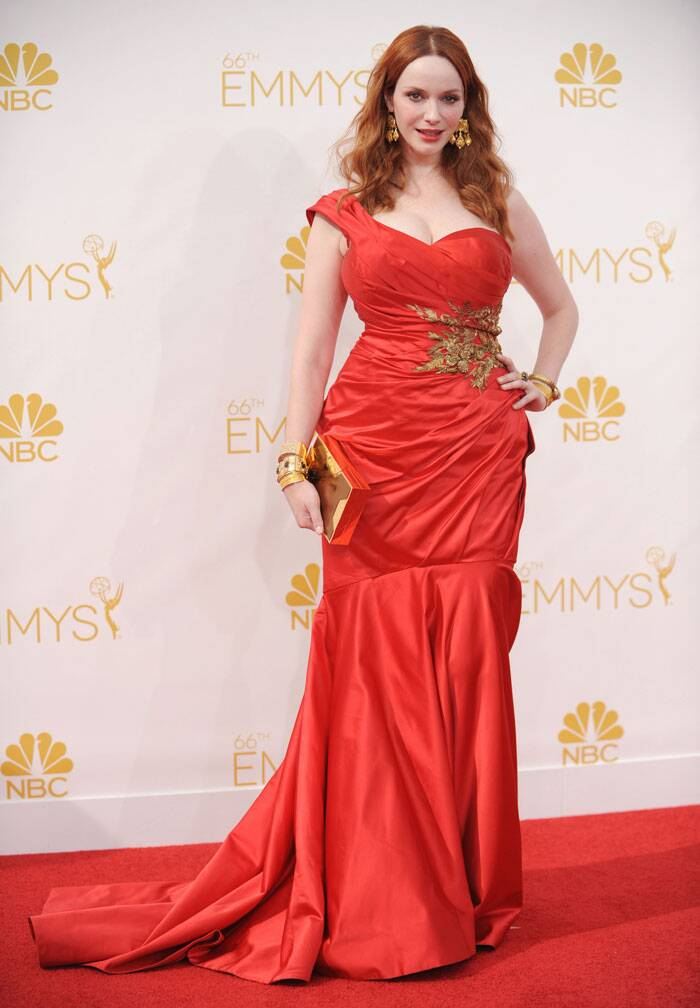 Christina Hendricks from 'Mad Men' was eye-catching in a fabulous scarlet Marchesa gown and Neil Lane jewellery. (Source: AP)