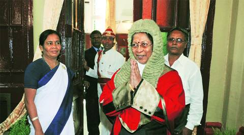 New Chief Justice Dr Manjula Chellur on way to the oath-taking ceremony, at Calcutta High Court, on Tuesday. Subham Dutta