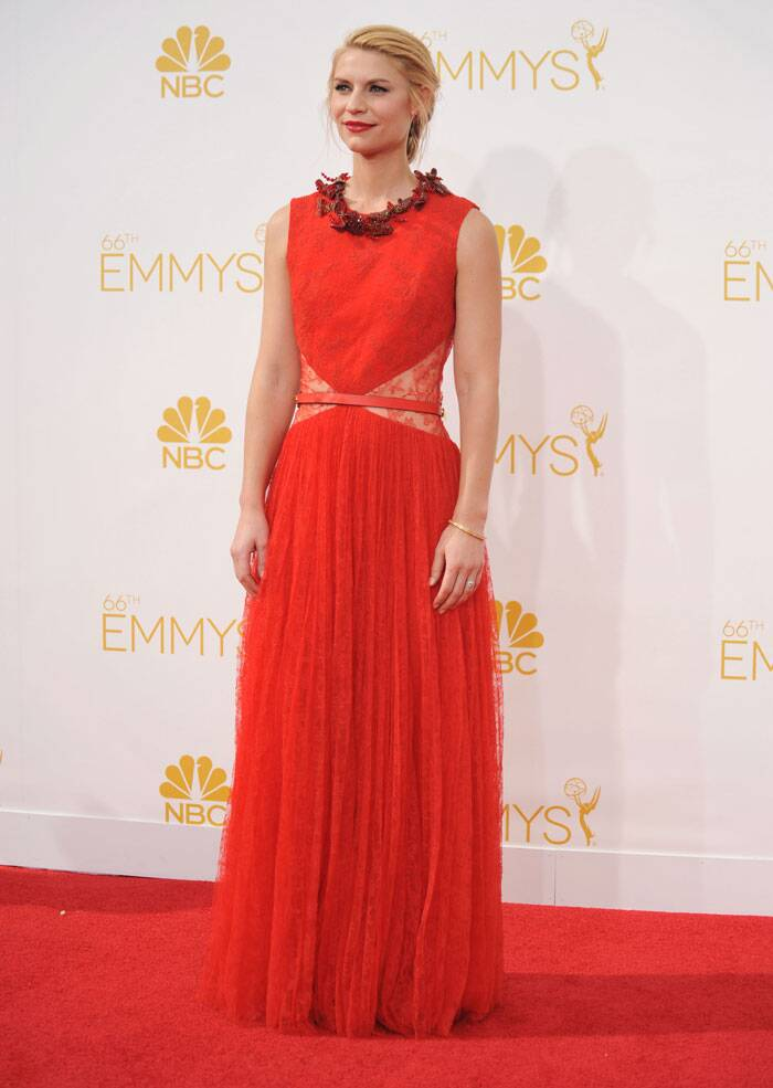 Homeland's Claire Danes was girly and feminine in a red coloured Givenchy Haute Couture gown. (Source: AP)