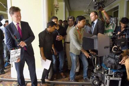 British Deputy PM's Mumbai outing - a meeting with Kapil Dev, visit to Bollywood film set