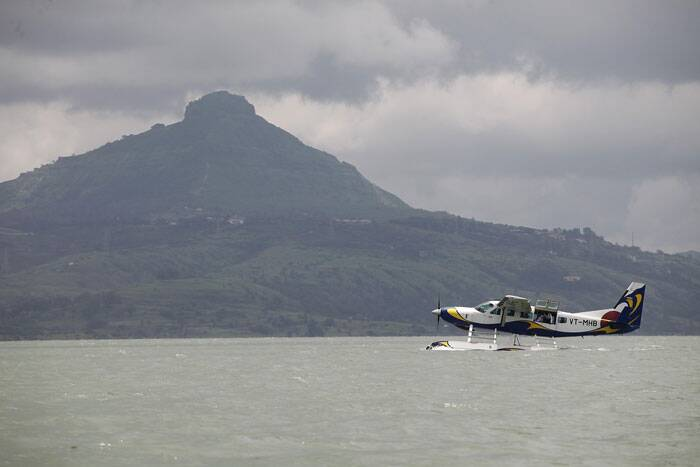 First seaplane service flight takes off from Mumbai to Pawana dam in Lonavala on August 25. (Source: Express photo by Pavan Khengre)