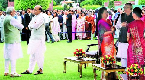 Prime Minister Narendra Modi, Home Minister Rajnath Singh, L K Advani, his daughter Pratibha Advani and Congress president Sonia Gandhi during At Home hosted by President Pranab Mukherjee on Friday.