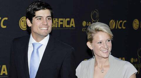 Alastair Cook with his wife Alice Hunt at an ICC event. (Source: AP File Photo)