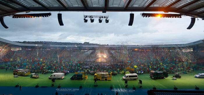 Vehicles of the emergency services and Glasgow city council take part in a drive past during the Closing Ceremony for the Commonwealth Games Glasgow 2014, at Hampden Park stadium, in Glasgow, Scotland. (Source: AP)