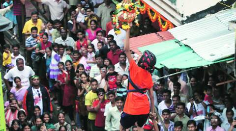 A Dahi Handi session. (Source: Express)