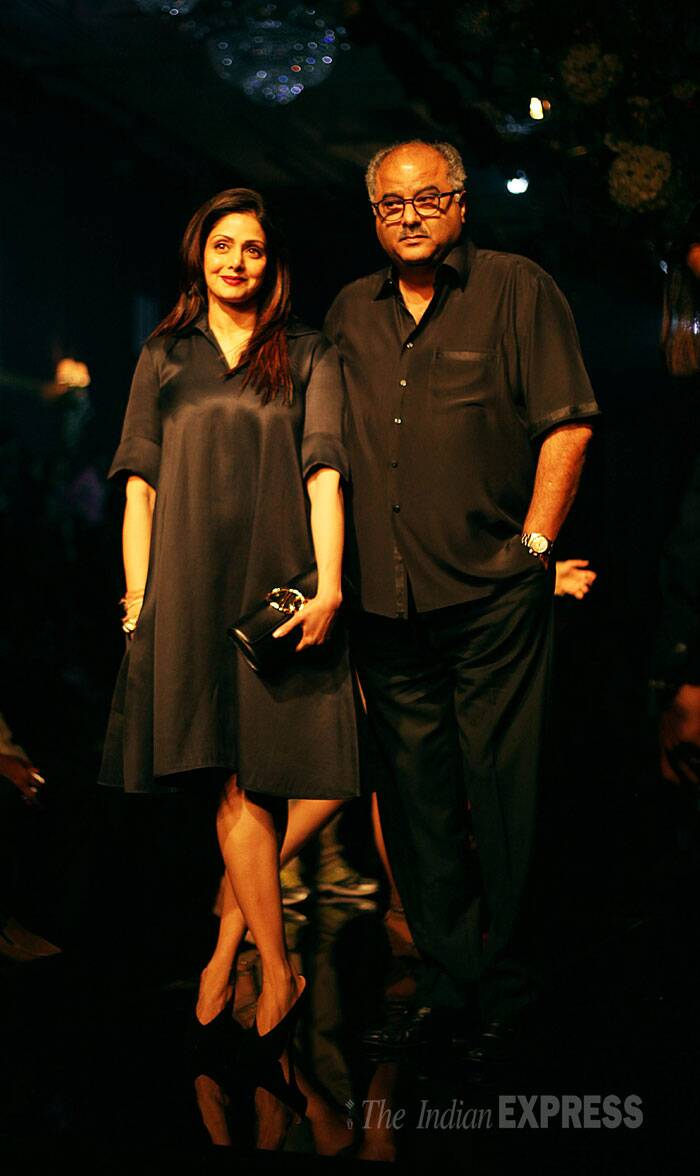 Sridevi was also there with her husband Boney Kapoor. She wore a black dress. (Source: Express photo by Pradip Das)