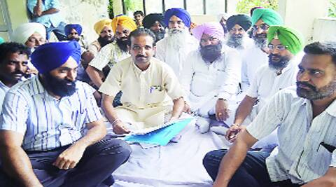 Councillors of the Bains group at Zone C office of MC in Ludhiana on Monday.