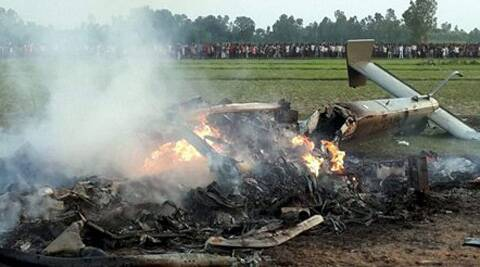 IAF helicopter which crashed in Sitapur on Friday in which all on board feared killed. (Source: PTI)