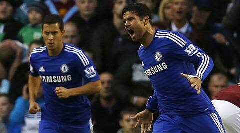 Chelsea's Diego Costa (R) celebrates his goal against Burnley (Source: Reuters)