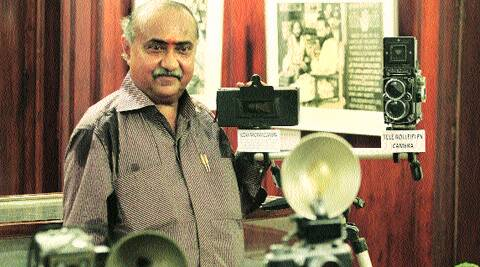 Dilish Parekh with his camera collection at IGNCA.