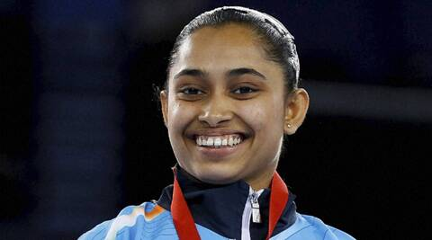 The gymnast, who made history at the Commonwealth Games. (Source: AP)