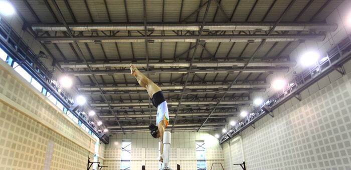 Dipa Karmakar training at IG Stadium. (Source: Express photo by Oinam Anand)