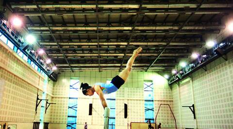 Supernova: Dipa Karmakar on the vault at the Indira Gandhi stadium, Delhi (Source: Express Photo by Oinam Anand)