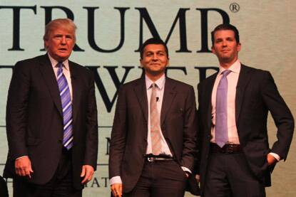 Donald J. Trump, Chairman and President, The Trump Organisation, Abhishek Lodha, MD, Lodha Group, Donald J. Trump Jr., Executive Vice President, The Trump Organisation at the launch of Trump Tower, at Four Seasons in Worli, Mumbai, (Photo: Pradeep Kocharekar)