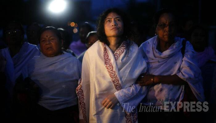 Soon after her release from the prison, Irom Sharmila resumed her fast at the complex of the government hospital at Porompat. (Source: Express photo by Deepak Shijagurumayum)